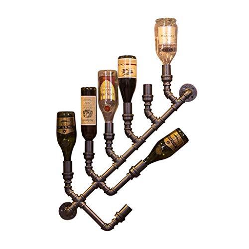 Cremagliera del Vino in Ferro battuto Creativo Armadio per Montaggio a Parete con manichetta antincendio retrò Appeso 80 * 10 cm
