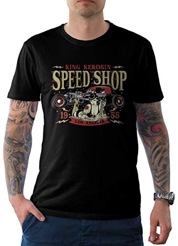 King Kerosin Herren T-Shirt Schwarz Pin Up Edition 04-LA Speed Shop 4XL