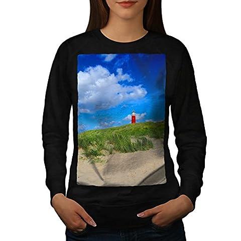 Ocean Light Tower Nature View Women NEW Black L Sweatshirt | Wellcoda