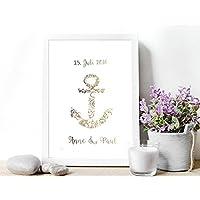 Poster Gold o. Silber Hochzeitsgeschenk personalisiert