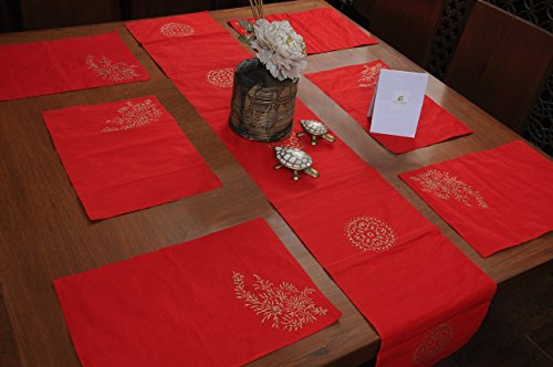 Homestrap Hand Crafted Red Silk Table Linens/ Table Runner And Placemats, Set...