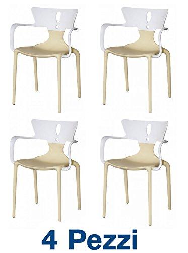 4 Sedie con braccioli Design in Polipropilene Bicolore Bianco + Senape - Outlet Online