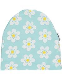 maxomorra Mädchen Beanie Mütze hellblau gelb FLOWER