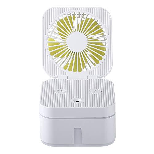 Gfgh Ventilador con Agua Pulverizada, Ventilador Helicoidal LED Ordenador Portatil, Ventilador Sobremesa Recargable Silencioso, Mini Ventilador Nebulizador (Blanco)