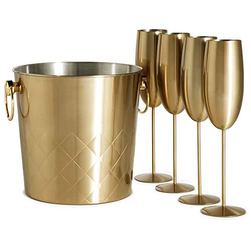 VonShef Sektkühler & 4 Sektgläser - Champagnerkübel 5L aus Edelstahl gebürstetes Gold & 4 Gläser, mit Tragegriffe Gold Gläser