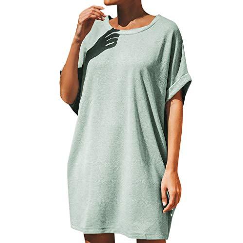 routinfly 2019 Neu Damen Rundhals Solide Lose T Shirt Kleid,Frauen Sommer Casual Übergroße Kurzarm Baggy Kleid Party Kleid Freizeit Strand Sommerkleid -