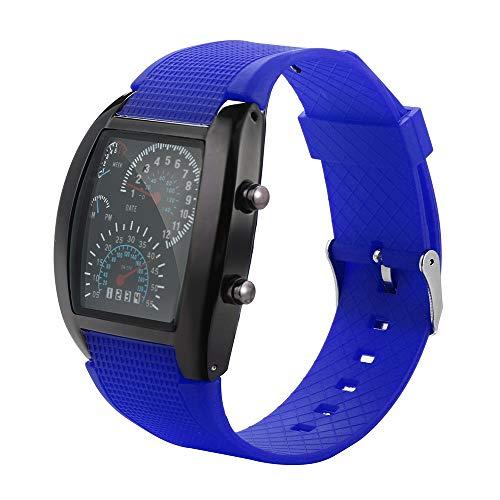 YULINGSTYLE Hochwertige Uhr Herrenmode LED-Licht Flash Turbo Tachometer Sportwagen Zifferblatt Meter UhrBunte Uhren