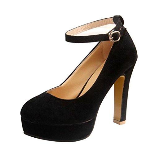 cinnamou High Heels Schuhe für Frauen - Knöchelriemen Hochzeit Plattform Pumpen - High Heels T-Strap | Veloursleder-Optik Schuhe | Abendschuhe Samt-Optik Lack (Plattform-schuh -)