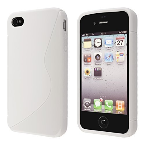 ECENCE Apple iPhone 4 4S Ensemble de 3 x coque de protection housse case cover 11010406 Ensemble de 3, noire, blanc, transparent