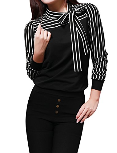 allegra-k-ladies-tie-bow-neck-striped-long-sleeve-splicing-autumn-shirt
