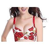 XUHONGTAO Gebürstete Rose, Einteilige Nahtlose Rose, kein Stahlring, Massage-BH, rote Rose 80C in