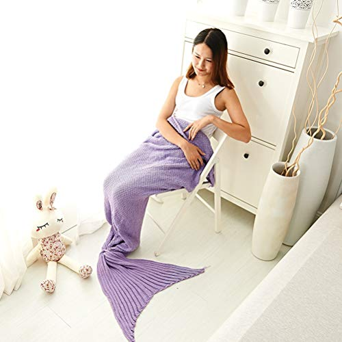 XIAOLI& Meerjungfrau Schwanz Decke Meerjungfrau Decke Sofadecke Klimaanlage Decke Wolle Stricken Schlafsack mit Vier Jahreszeiten Weich Warm, 50 * 90