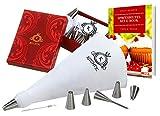 Kichtic Profi Spritzbeutel-Set, 10-teilig inklusive E-Book, Geschenks Box, Adapter, Baumwolle Spritzbeutel, 6 Edelstahl Spritztüllen, Reinigungsbürste – Tortendekoration, Backzubehör, Sahnebeutel
