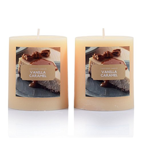 Set of 2 Richly Scented Pillar Candles VANILLA CARAMEL Fragrance, The Aroma...