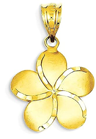 IceCarats 14k Yellow Gold Plumeria Pendant Charm Necklace Flower Gardening