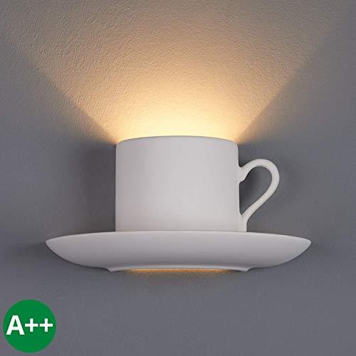 Lampenwelt Wandleuchte, Wandlampe Innen 'Pocillo' dimmbar (Modern) in Weiß aus Gips/Ton u.a. für Küche (1 flammig, G9, A++) - Wandfluter, Wandstrahler, Wandbeleuchtung Schlafzimmer/Wohnzimmer