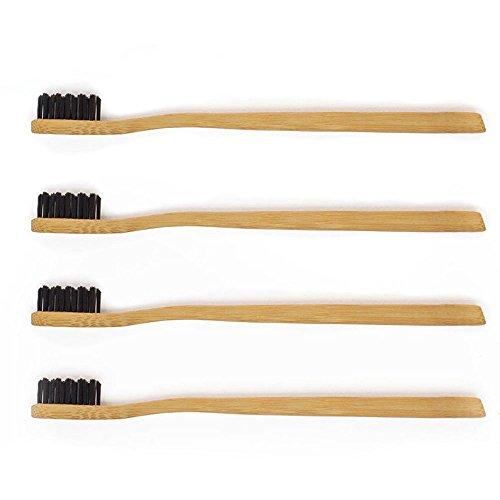 ♻ Planet Bamboo ♻ 4er-Sparset Bambus Zahnbürsten für Erwachsene (Schwarz | Soft), schmaler Griff und Aktivkohle-Borsten für eine natürliche Zahnreinigung, süße Panda Verpackung, biologisch abbaubare Holzzahnbürste (bamboo toothbrush)