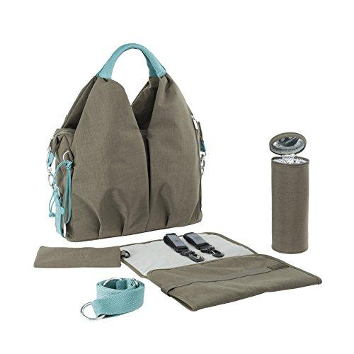 Lässig Baby Wickeltasche/Babytasche inkl. Wickelzubehör aus recyceltem Material, Green Label Neckline Bag,