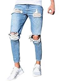 Bold Manner Herren Jeans Skinny Stretch mit Löchern Jeanshosen Used-Look  Slim Fit Destroyed Denim c780ae4801