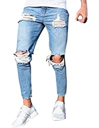 59a9d19b4fb8 Bold Manner Herren Jeans Skinny Stretch mit Löchern Jeanshosen Used-Look Slim  Fit Destroyed Denim