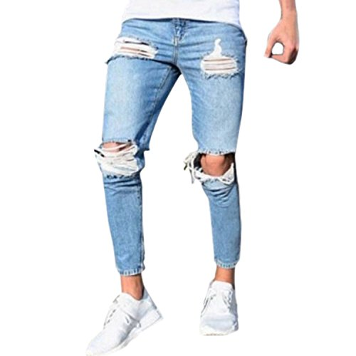 Bold Manner Herren Jeans Skinny Stretch mit Löchern Jeanshosen Used-Look Slim Fit Destroyed Denim (Herren-jeans-tag)