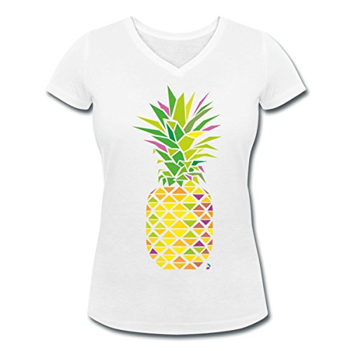 Ananas Géométrique Triangles Multicolore T-shirt col V Femme de Spreadshirt®‎ Blanc