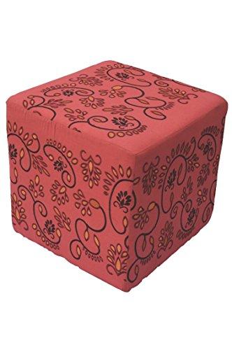 Orientalischer eckiger Pouf aus Baumwolle inklusive Füllung | Marokkanisches Sitzkissen Sitzpouf Kissen Bahar rot 45cm Eckig | Marokkanischer Hocker Sitzhocker Fusshocker bestickt | Farbe auswählen