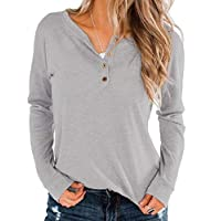 HOUJ Women's Slim Button Down Long Sleeve V-Neck Casual Blouse T Shirt Tops Grey US M