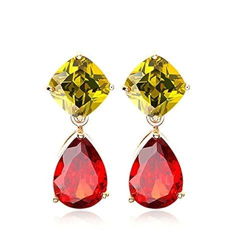 KnSam Boucles d'Oreilles Fantaisie Plaqué Or Rose Percées Drop Earrings Teardrop Incrusté Cristal Rhinestone Champagne