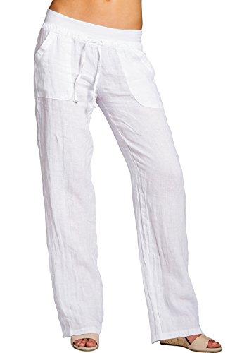 Caspar KHS025 Damen Casual Sommer Leinenhose, Farbe:Weiss, Größe:S - DE36 UK8 IT40 ES38 US6