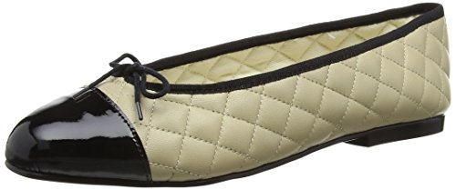 French Sole Simple Quilt-Patent Toe, Ballerine Donna Bianco (blanc (Cream/Black))