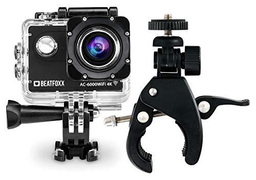 Beatfoxx AC-6000WiFi 4k Full HD Action Kamera (Video: 4096 x 2160p 25 fps, Unterwassergehäuse, 170° Weitwinkel Objektiv, integrierte WiFi Schnittstelle, Fernbedienung, Halterungsset, inkl. FlexClamp) Wlan-dash-fernbedienung