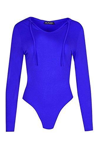 Oops Outlet Damen Kapuzenpulli Viskose Jersey Dehnbar Damen Kapuze Body Anzug Übergröße 8-22 Königsblau