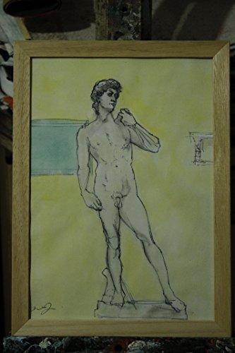der-david-von-michelangelo-auf-der-piazza-della-signoria-in-florenz-malerei-ausgefuhrt-in-tusche-und