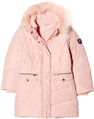 NAME IT Mädchen NKFMELA DOWN Jacket Camp Jacke, Rosa Detail: with Strawberry Cream Color Fur, 152 -