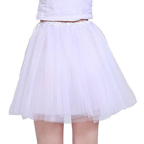 Mädchen Weiße Rose Kostüm - iLoveCos 80er Jahre Neon Tütü/Tutu/Tüllrock/Unterrock Petticoat Rüschen Geschichteten Pink Regenbogen Rot Rock Kleid Kostüm 1980er Jahre Neon Fancy Dress Outfit Zubehör für Kinder (White)