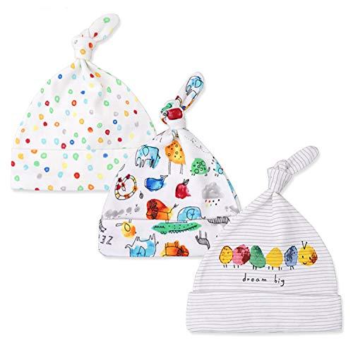 fae1f2160415b Snyemio Cotton Cap pour Bébé Bonnet Noeud Chapeau Nouveau-né Garçons Filles  Unisexe 3 Réglable