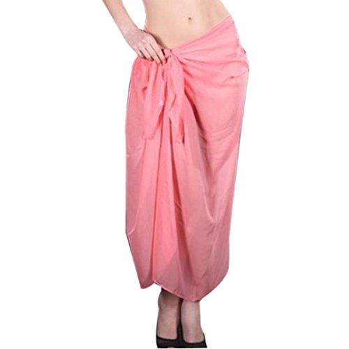 Damen Röcke, GJKK Damen Reizvoller Strandrock Vertuschen Chiffon Rock Bikini Bademode Vertuschen Wrap Rock Badeanzug Lange Rock (Orange, F) (Wrap Badeanzug Womens)