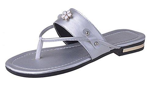 Mme sandales d'été orteil clip sandales glisser sandales plates et pantoufles femmes Silver