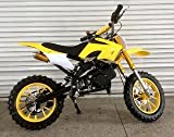 R JAG TOYS Kids Dirt Bike with 49cc Engine and Cell-Start (Yellow)