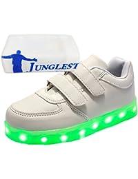 [Present:kleines Handtuch]Gold EU 26, Turnschuhe LED Schuhe Leuchtend Kinder Blinken JUNGLEST® Jungen Sportsschuhe Farbwechsel Fluorescence weise