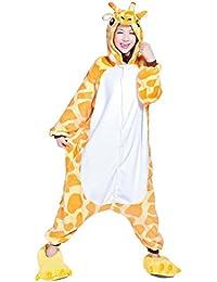 Misslight Unicornio Pijamas Animal Ropa de dormir Cosplay Disfraces Kigurumi Pijamas para Adulto Niños Juguetes y Juegos (S, Jirafa)
