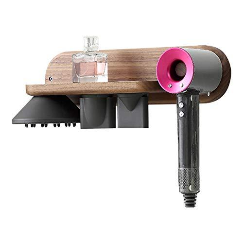 Xinvision Haartrocknerhalter für Dyson Supersonic, Schwarz Nussbaum Wandhalterung Halter Aufhänger Ständer für Dyson Supersonic, Diffusor und Zwei Düsen (Diffusor-halter)