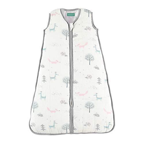 molis&co. Ganzjahres Baby-Schlafsack. 18 bis 36 Monate. 105 cm. 2.5 TOG Superweich und warm. Unisex-Waldaufdruck. Premium-Musselin mit Futter.