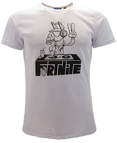 Epic Games T-Shirt Original Fortnite Dj Klinge Trikot Bianca Disc Jokey Kinder, Weiß 14-16 Jahre