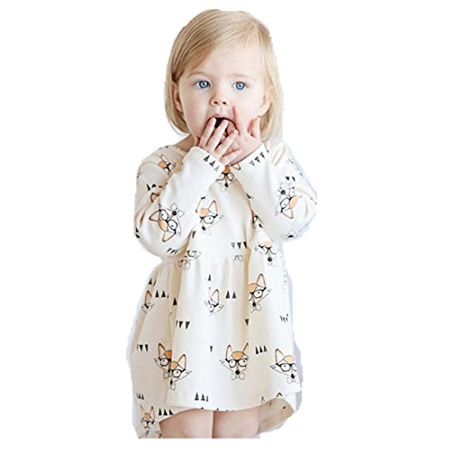❤️Robe de Filles , Amlaiworld Enfants Filles Princesse Robe Stripe Bébé Fox Cartoon Robe Tenues de vêtements (110/2-3ans, Beige)