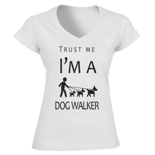 Trust Me I'm A Dog Walker Damen V-Neck Weiß