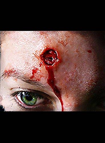 en Schmink Set I 4 Teile 3D Schusswunde Maske Effekt Fake Tattoo Party Deko Theater Horror (Kinder Fledermaus Kostüm Make Up)