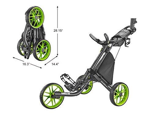 CaddyTek Caddylite EZ V8 - EZ-Fold Golftrolley mit 3 Rädern, zum Schieben, zusammenklappbar, CaddyLite EZ Version 8 Lime, Lime, Einheitsgröße -