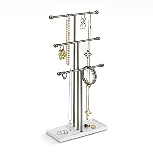 Umbra Trigem Hanging Jewelry Organizer – 3 Tier Extra Tall Tabletop Necklace Holder and Jewelry Display Stand Tree with Ring Tray to Organize Necklaces, Bracelets, Earrings, Rings and Watches, Nickel